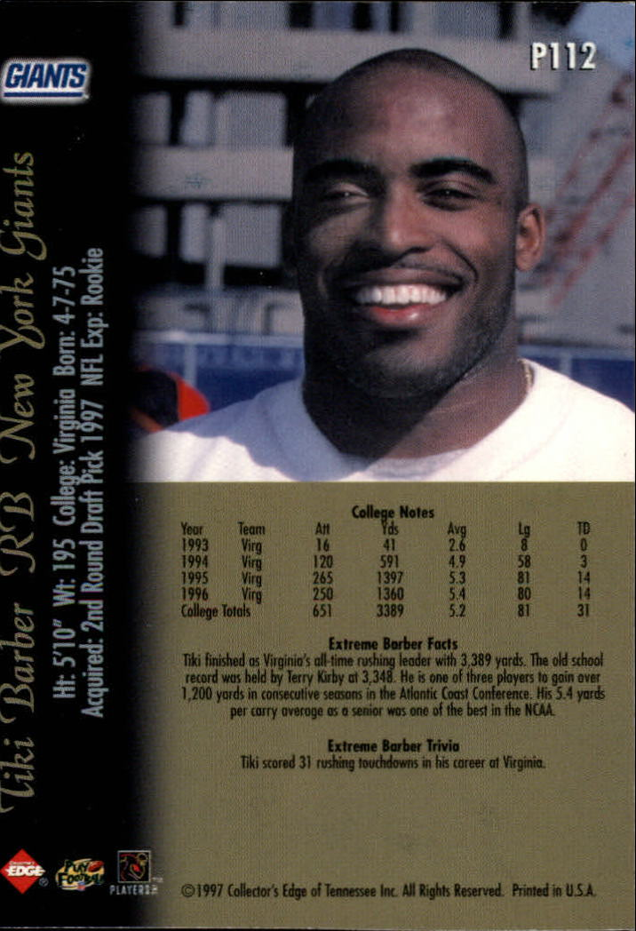 1997 Collector's Edge Extreme Foil #P112 Tiki Barber DC back image