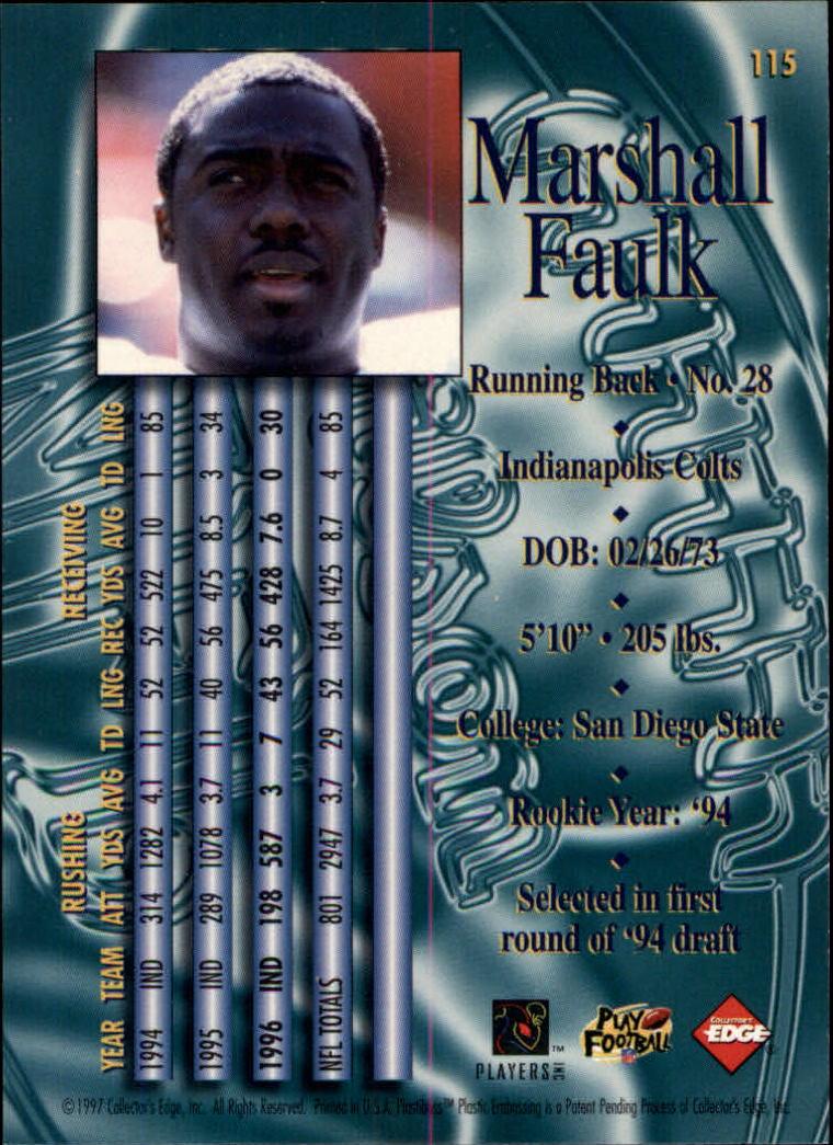 1997 Collector's Edge Masters #115 Marshall Faulk back image