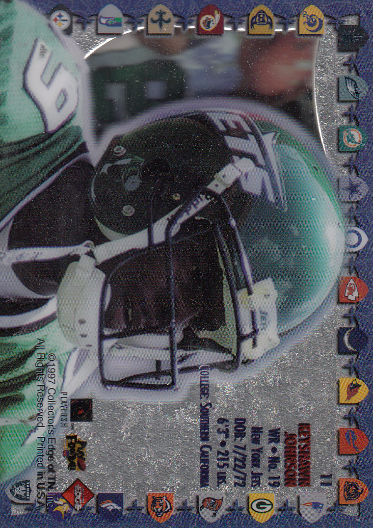 1997 Excalibur Game Helmets #11 Keyshawn Johnson back image
