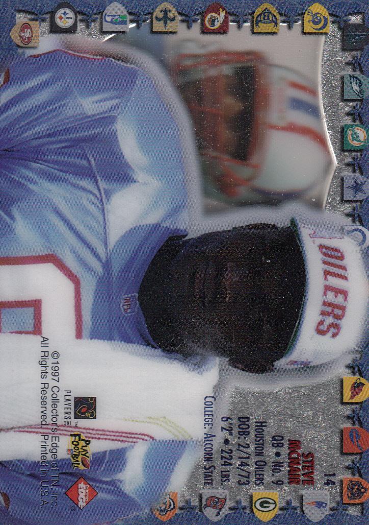 1997 Excalibur Game Helmets #14 Steve McNair back image