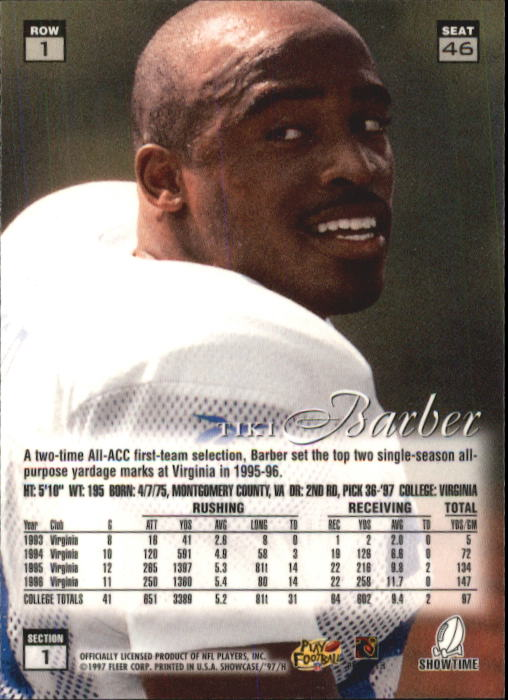 1997 Flair Showcase Row 1 #46 Tiki Barber back image