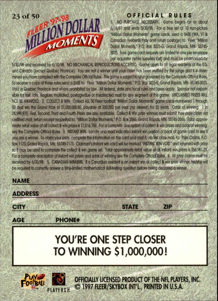 1997 Fleer Million Dollar Moments #23 Garo Yepremian back image