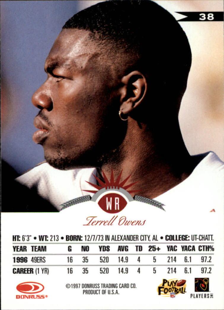 1997 Leaf #38 Terrell Owens back image