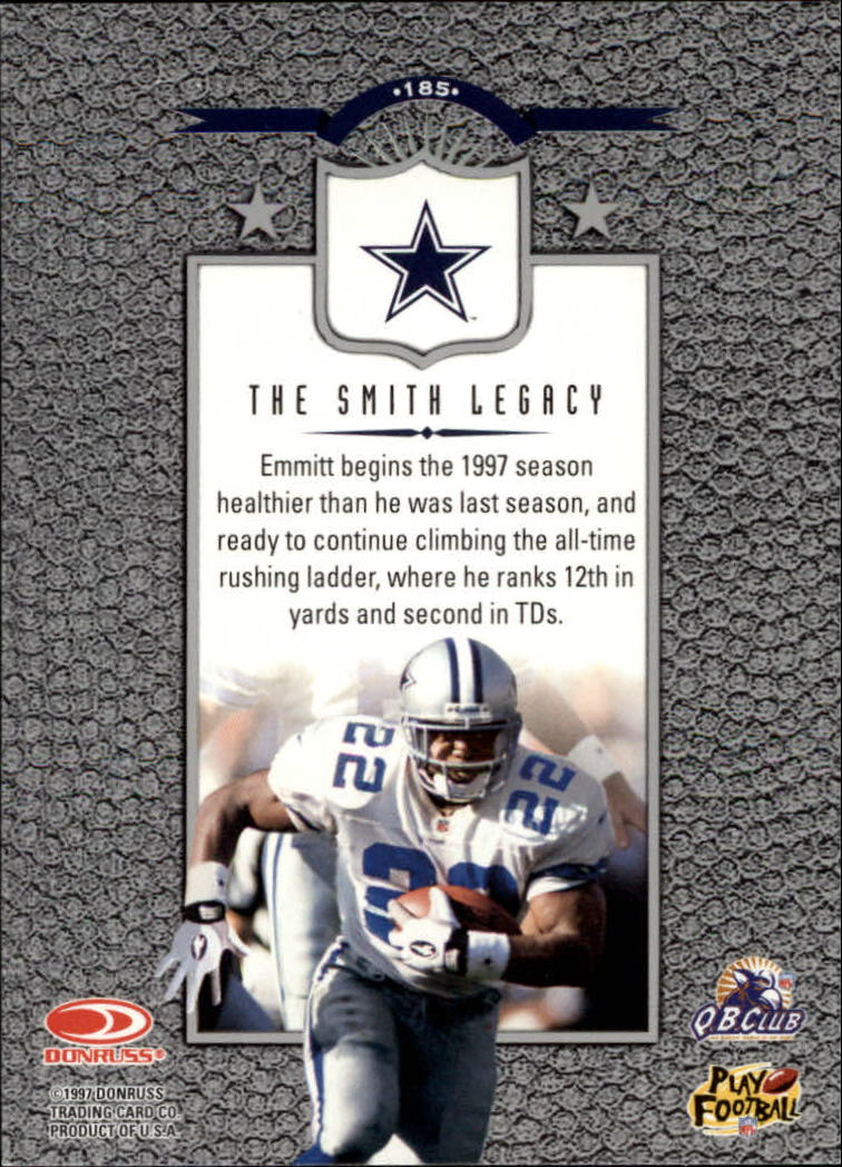 1997 Leaf #185 Emmitt Smith L back image