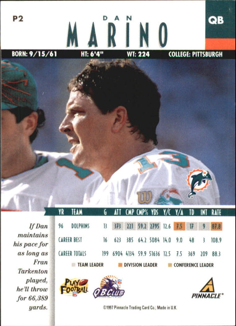 1997 Pinnacle Artist's Proofs #P2 Dan Marino back image