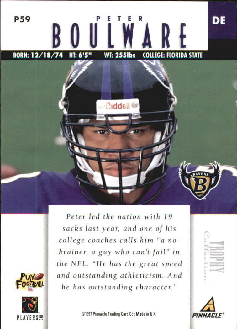 1997 Pinnacle Trophy Collection #P59 Peter Boulware back image