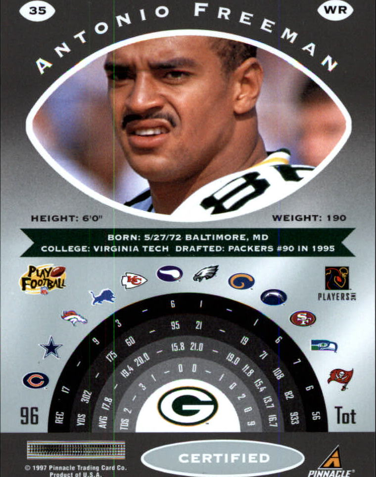 1997 Pinnacle Certified #35 Antonio Freeman back image