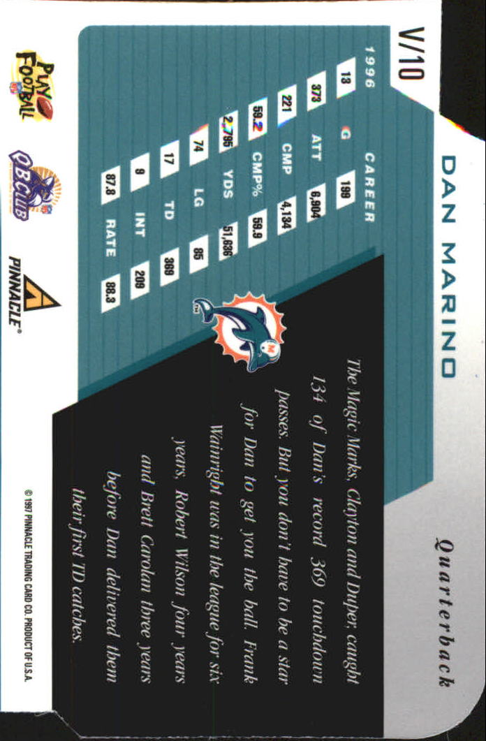1997 Pinnacle Inscriptions V2 #V10 Dan Marino back image