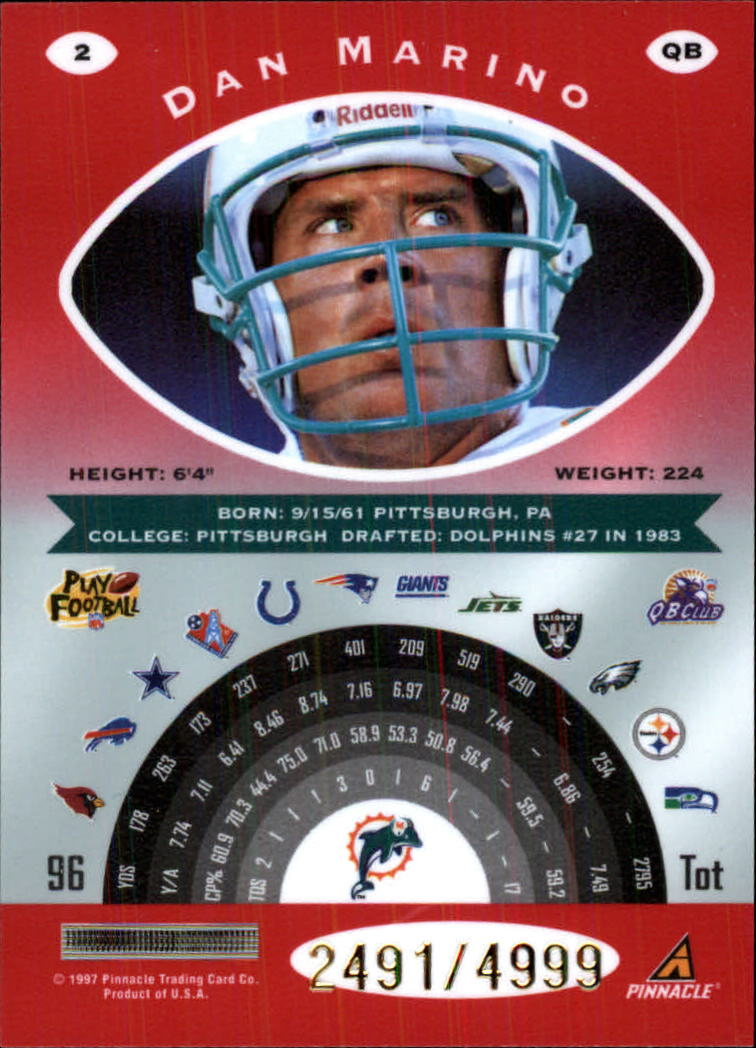 1997 Pinnacle Totally Certified Platinum Red #2 Dan Marino back image
