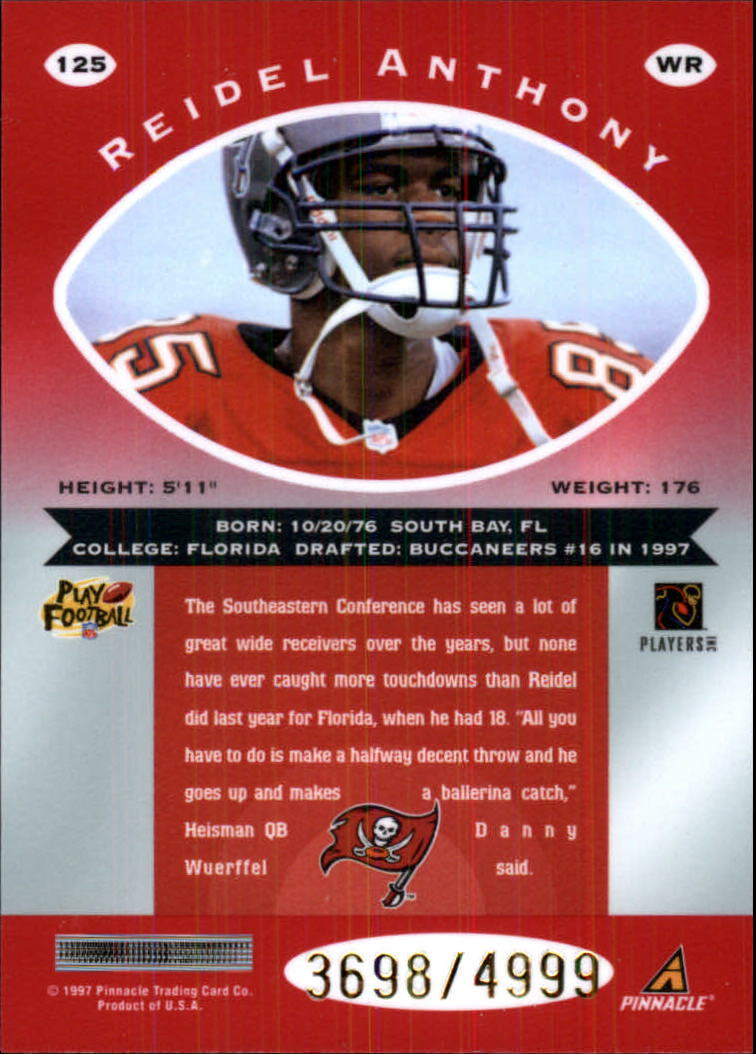 1997 Pinnacle Totally Certified Platinum Red #125 Reidel Anthony RC back image