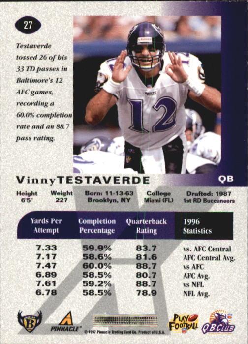 1997 Pinnacle X-Press #27 Vinny Testaverde back image