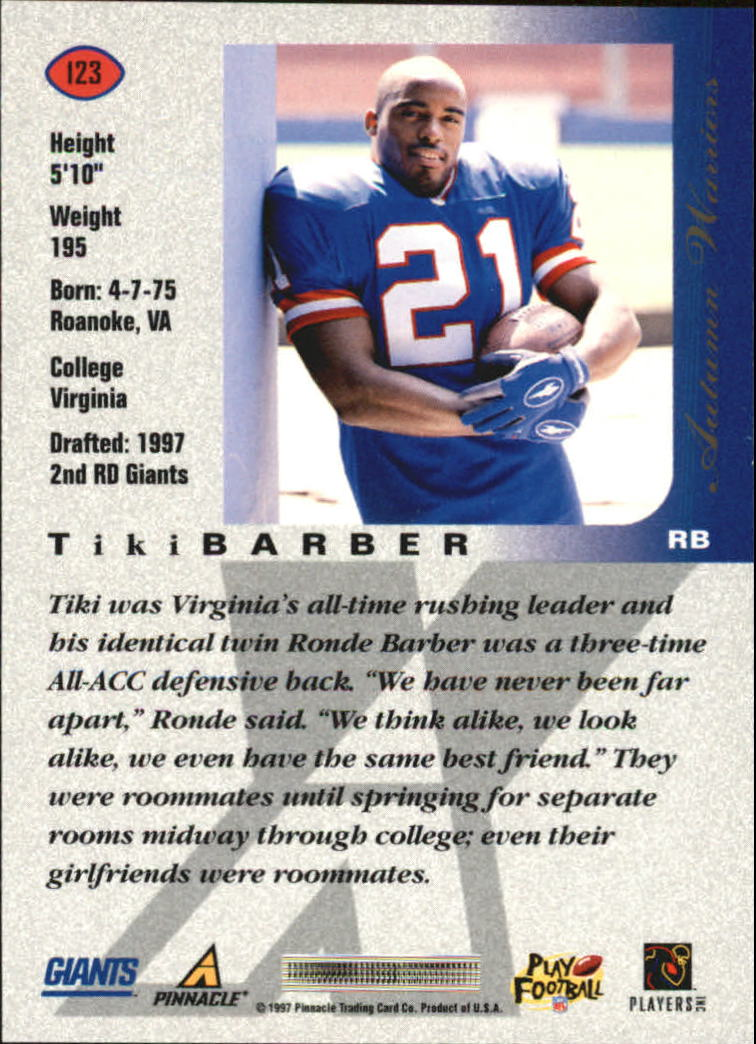 1997 Pinnacle X-Press Autumn Warriors #123 Tiki Barber back image