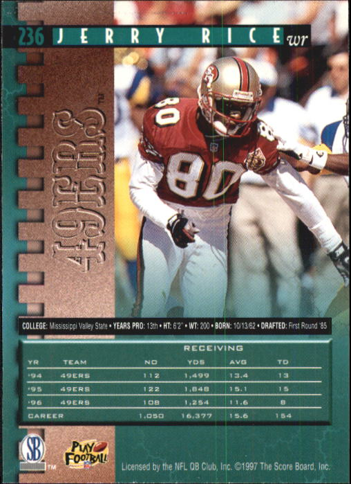 1997 Pro Line #236 Jerry Rice back image