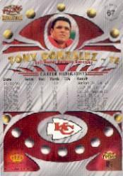 1997 Revolution Platinum Blue #67 Tony Gonzalez back image