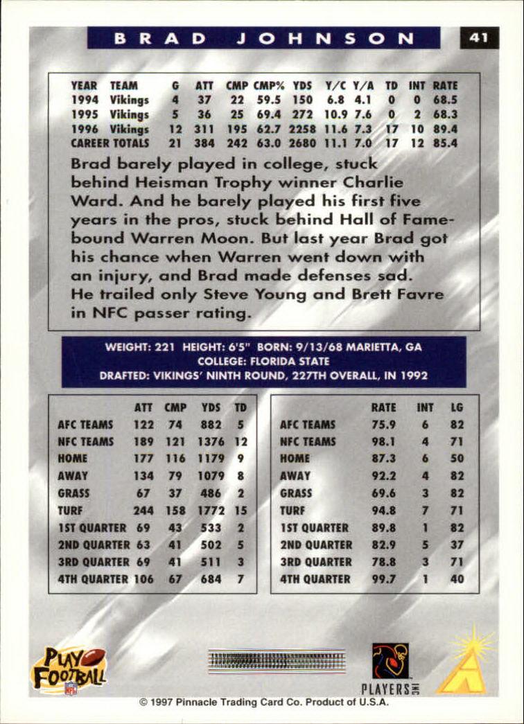 1997 Score #41 Brad Johnson back image