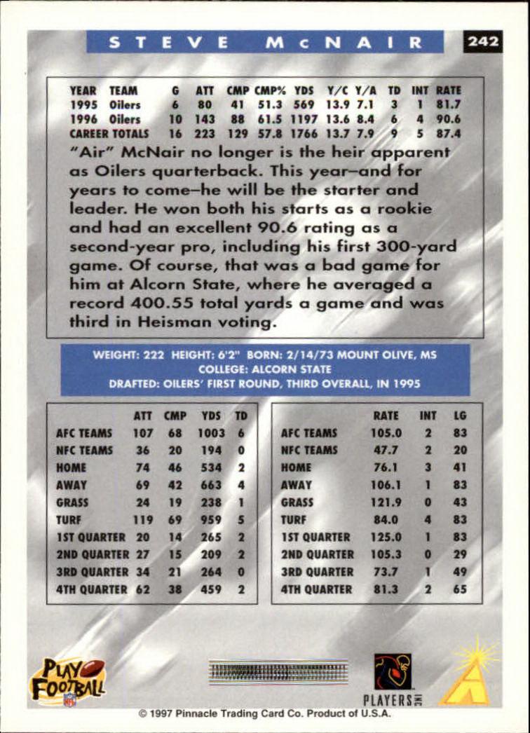 1997 Score #242 Steve McNair back image