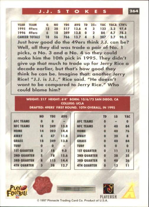 1997 Score Showcase Artist's Proofs #264 J.J. Stokes back image