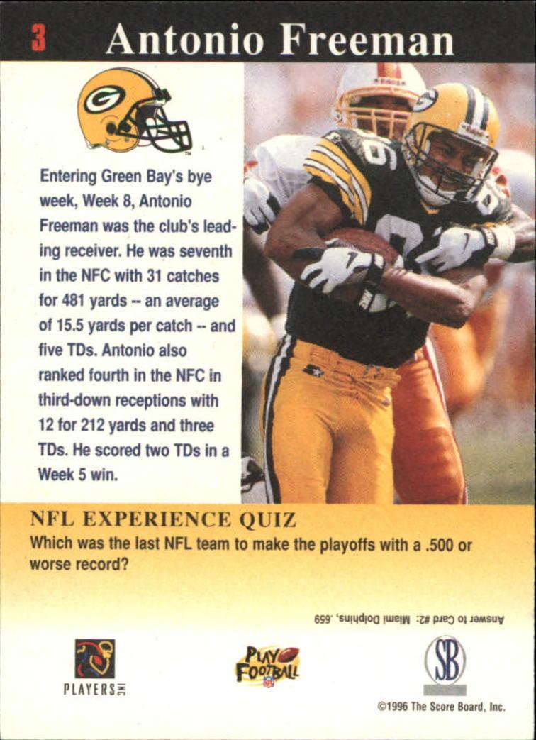 1997 Score Board NFL Experience #3 Antonio Freeman back image