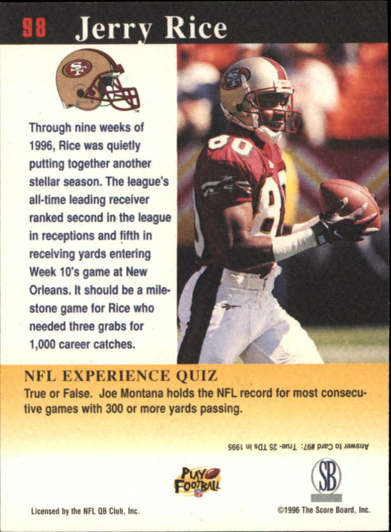 1997 Score Board NFL Experience #98 Jerry Rice back image