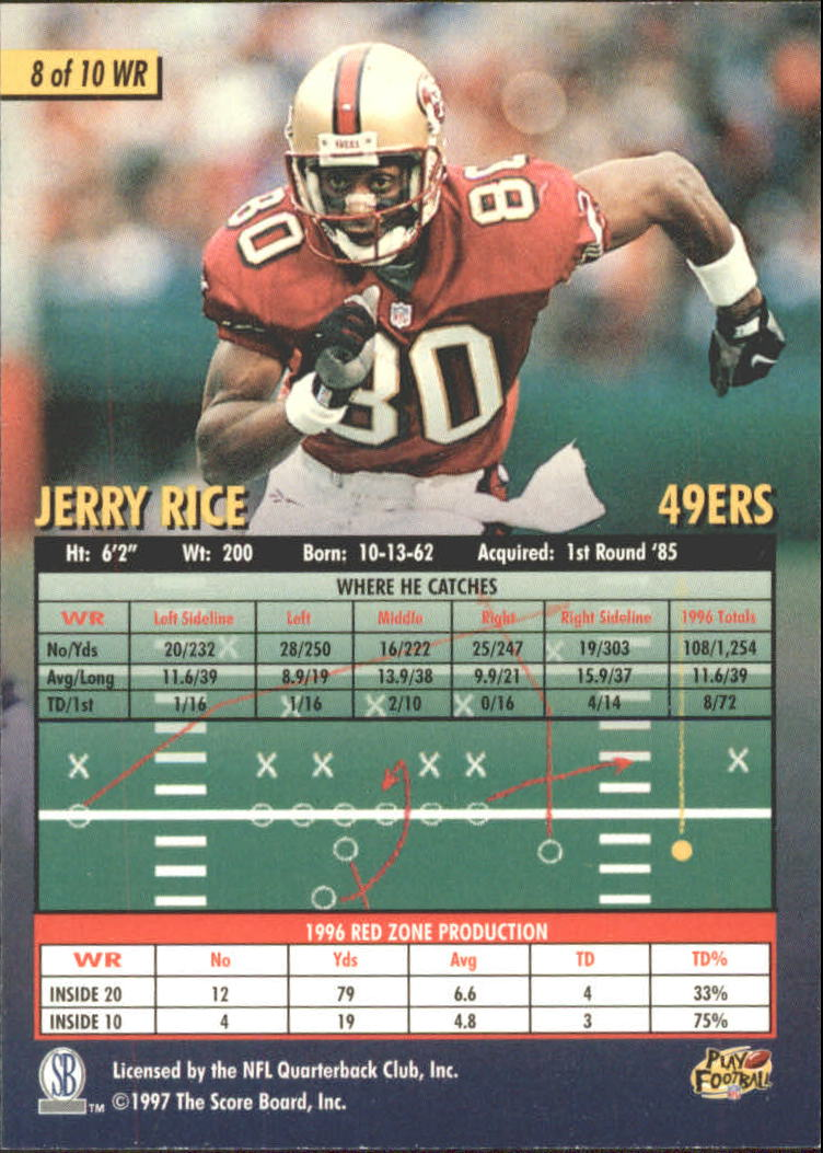 1997 Score Board Playbook By The Numbers #WR8 Jerry Rice back image