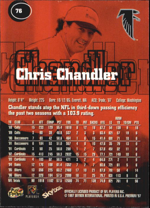 1997 SkyBox Premium #76 Chris Chandler back image
