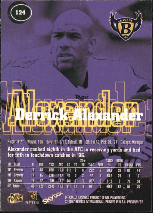 1997 SkyBox Premium #124 Derrick Alexander WR back image