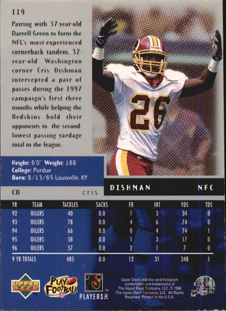 1998 Black Diamond Quadruple #119 Cris Dishman back image