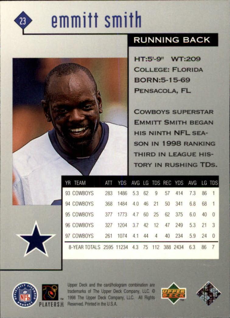 1998 Black Diamond Rookies #23 Emmitt Smith back image