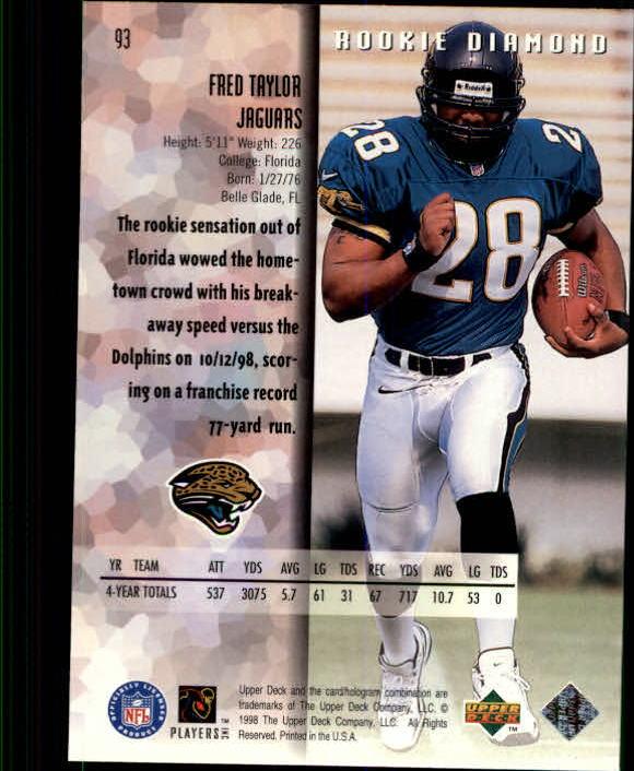 1998 Black Diamond Rookies #93 Fred Taylor RC back image