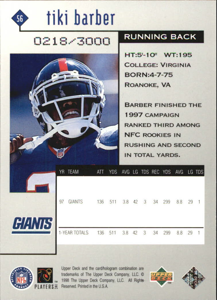 1998 Black Diamond Rookies Double #56 Tiki Barber back image