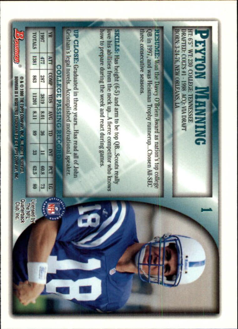 1998 Bowman #1 Peyton Manning RC back image