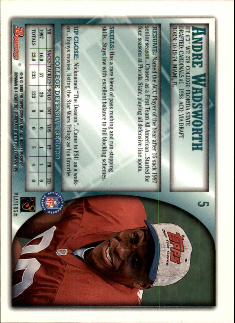 1998 Bowman #5 Andre Wadsworth RC back image