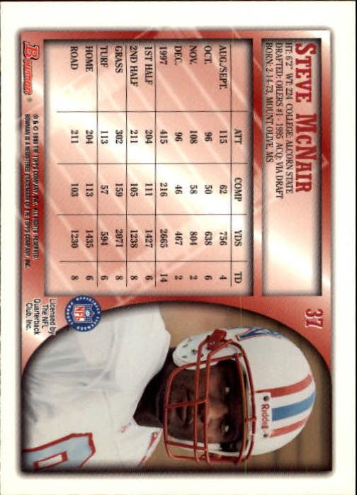 1998 Bowman #37 Steve McNair back image
