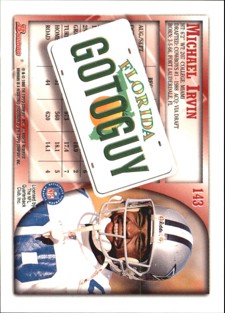 1998 Bowman Interstate #143 Michael Irvin back image