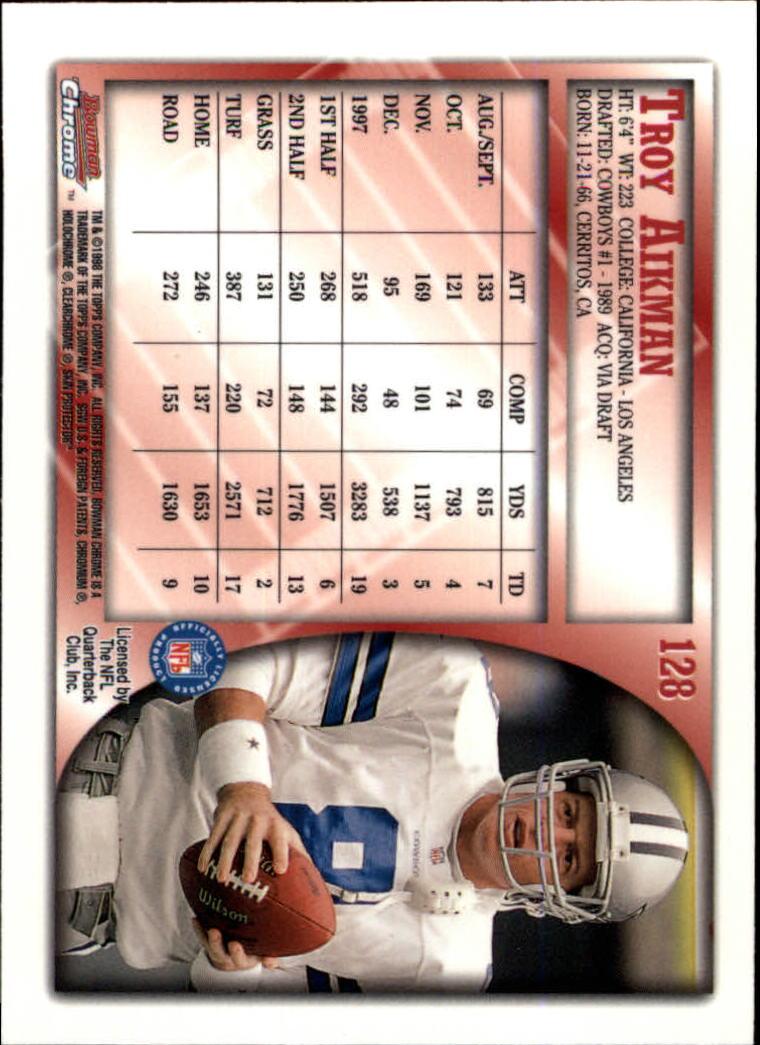 1998 Bowman Chrome #128 Troy Aikman back image