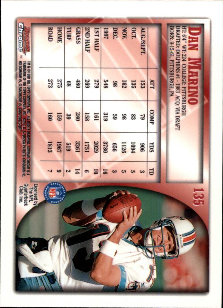 1998 Bowman Chrome #135 Dan Marino back image