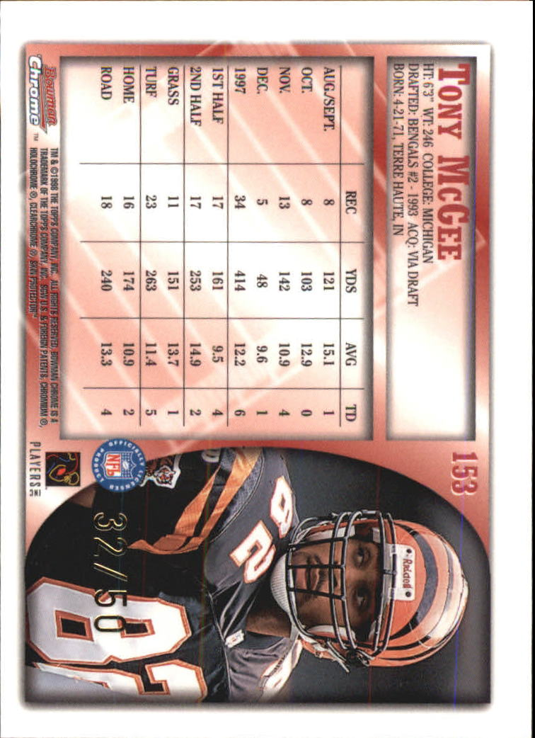 1998 Bowman Chrome Golden Anniversary #153 Tony McGee back image
