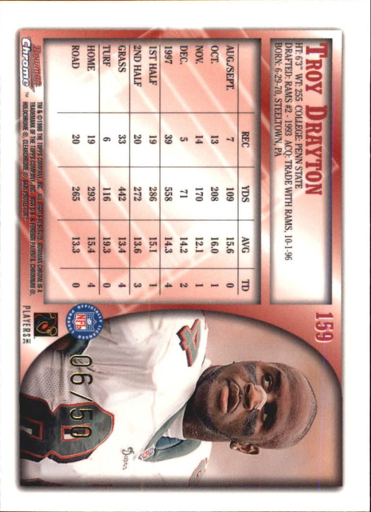 1998 Bowman Chrome Golden Anniversary #159 Troy Drayton back image