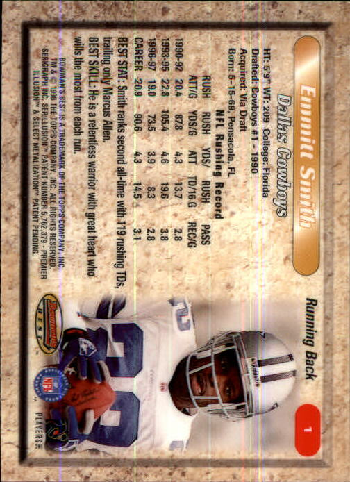 1998 Bowman's Best #1 Emmitt Smith back image