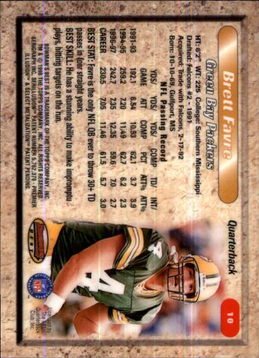 1998 Bowman's Best #10 Brett Favre back image