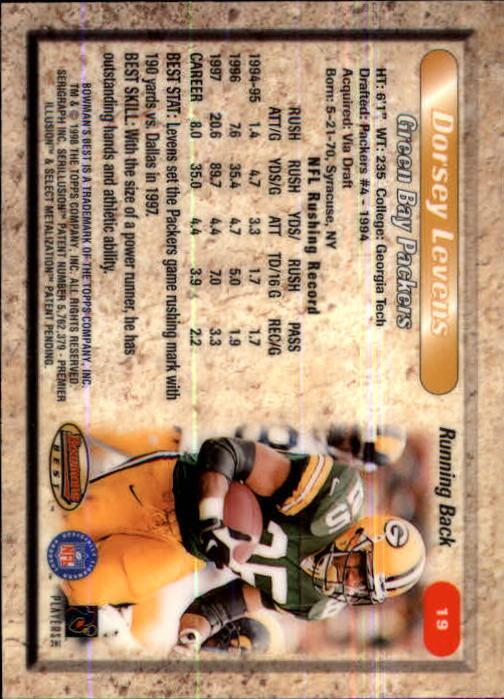 1998 Bowman's Best #19 Dorsey Levens back image