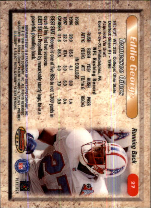 1998 Bowman's Best #27 Eddie George back image