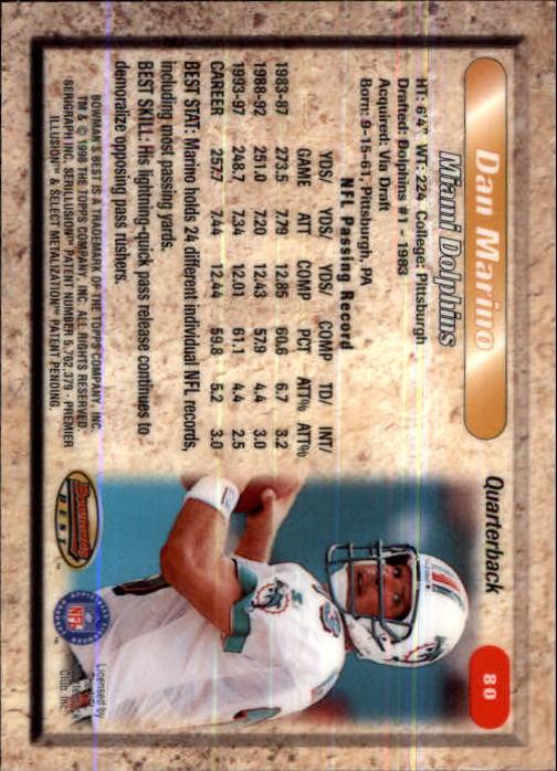 1998 Bowman's Best #80 Dan Marino back image
