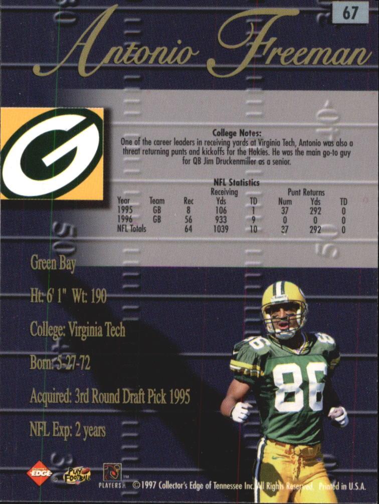1998 Collector's Edge Advantage #67 Antonio Freeman back image