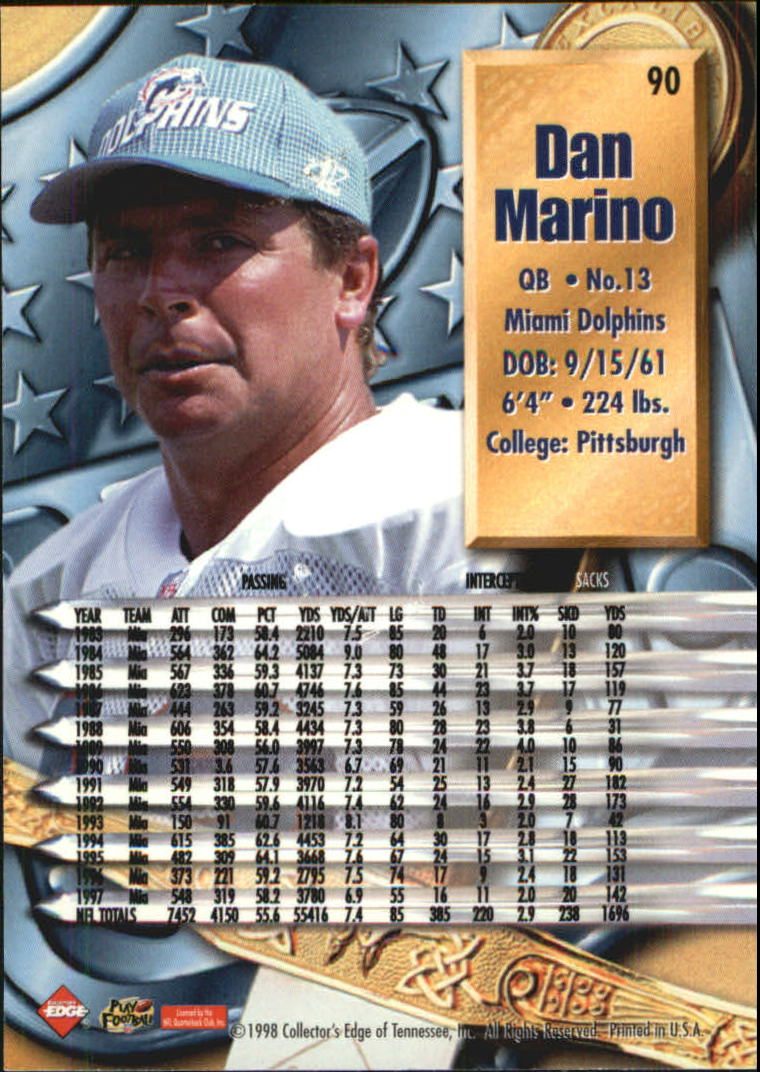 1998 CE Supreme Season Review Gold Ingot #90 Dan Marino back image