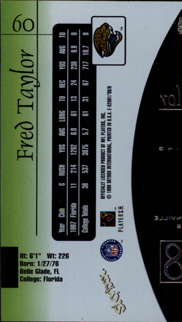 1998 E-X2001 #60 Fred Taylor RC back image