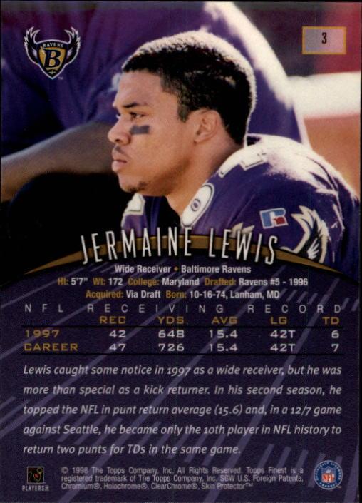 1998 Finest #3 Jermaine Lewis back image