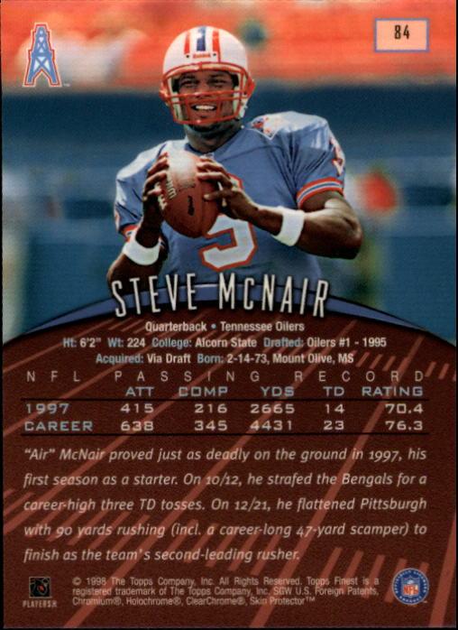 1998 Finest #84 Steve McNair back image