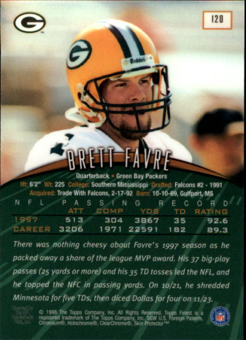 1998 Finest #120 Brett Favre back image