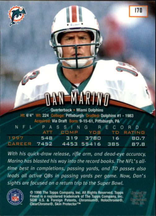 1998 Finest #170 Dan Marino back image